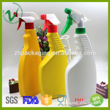 HDPE refilled flat empty liquid plastic detergent bottle with trigger sprayer