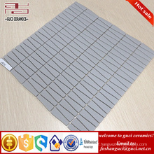 chinese supplier Strip Matte finish gray crystal glass mosaic tile for house wall design