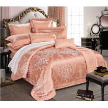 De seda como nupcial Jacquard bordado edredón conjunto de ropa de cama hecho en China