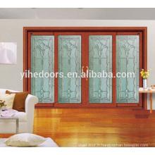 cadre en bois de teck et pin noueux insert de verre porte en bois massif