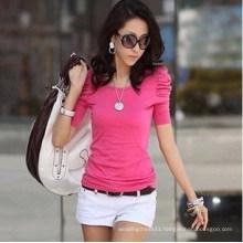Fashion Women Summer Top Bubble Sleeve Shirt (MU6619)