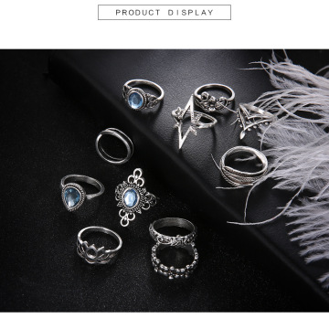 Vintage Knuckle Ring Set for Women Girls Stackable Rings Set Hollow Carved Flowers