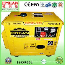 Gerador diesel à prova de som trifásico silencioso amarelo de 5kw
