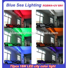 72pcs 18w 6 in 1 rgbwauv ip65 led outdoor christmas flood lighting