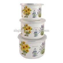 enamel salad bowl sets with PP lid