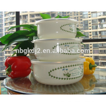 enamel metal antique ice bowl with coating high quality plastic cover