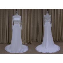 Long Sleeve Lace Applique Elegant Wedding Dress