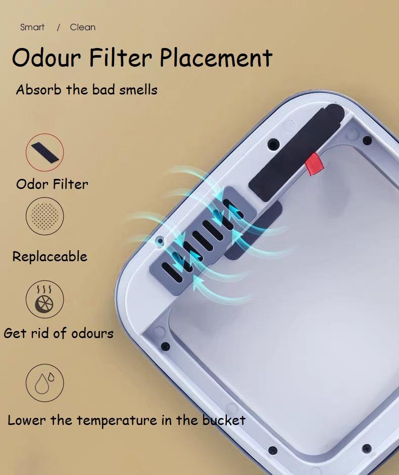 Garbage Bin with Odor Filter Holder