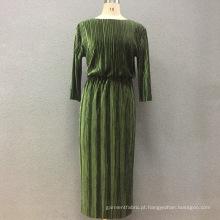 Vestido longo de algodão elástico de veludo para senhora