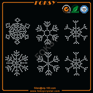 Customized for Christmas Rhinestone Iron On Transfer Bling Snowflake wholesale rhinestone heat transfers supply to Yemen Factories