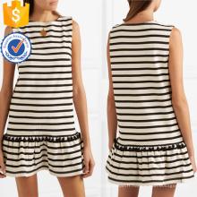 Vente chaude gland blanc et noir coton sans manches mini robe fabrication en gros mode femmes vêtements (TA0318D)