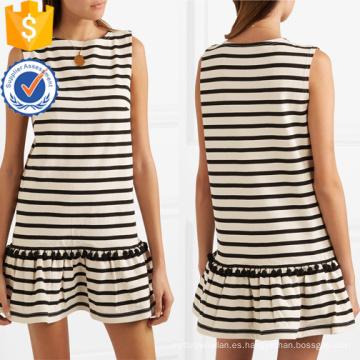 Venta caliente borla de algodón blanco y negro sin mangas Mini vestido de la fabricación al por mayor de prendas de vestir de las mujeres de moda (TA0318D)