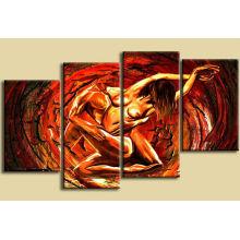 Pintura al óleo hermosa hecha a mano desnuda del grupo de la venta caliente
