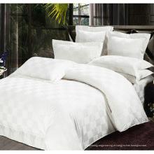 Satin Check Hotel cama de algodão conjunto com conjunto de edredom (WS-2016038)