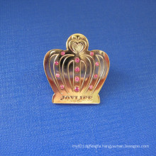 Crown Shape Lapel Pin Brass Badge with Diamond (GZHY-LP-031)
