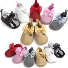 Sapatos de criança infantil 0-1 ano bebê mocassins bowknot tênis 6 cor
