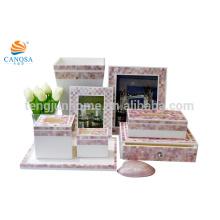 Oito pedaços conjuntos Pink shell polyresin banheiro conjuntos