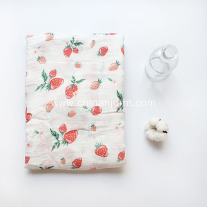Baby swaddle muslin blanket with strawberry  print