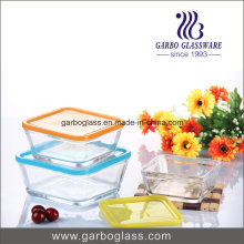 Decal Glass Punch Bowl with Sqaure Shape