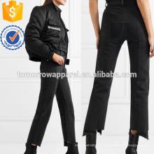 Jeans Straight-Up de la taille haute en détresse Fabrication de vêtements de mode en gros femmes (TA3068P)