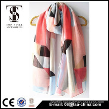 Geo patterns print fashion design spring and summer long scarf