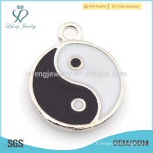 Vente en gros émail Yin Yang alliage charme pour bracelet