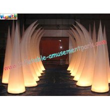 Inflatable Lighting Decoration Cone With Led Changing Light Use For Club, Exhibition