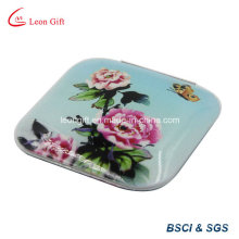 Square Compact Flower Printed Pocket Makeup Mirror