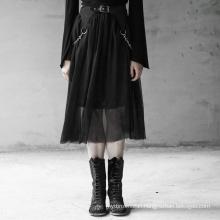 Gothic Women skirt High Waist Heavy Detachable Chains Chiffon Midi Black Skirt Tassels Sexy Skirt OPQ-417 New Arrival PUNK RAVE