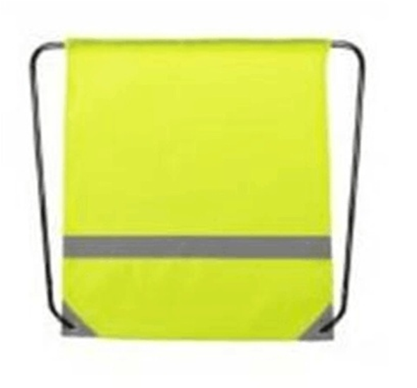 Reflective tape drawstring bag with PVC reinforced corners