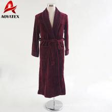 Personalizar popular manguito luva minky roupão macio flanela fleece cor sólida roxo vermelho mulheres roupão de banho