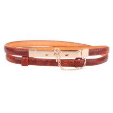 Women pu gold metal waist belt for women lady