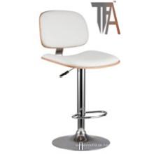 PU Material und Holz Sitz mit Chrom Silber Bar Stuhl