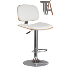 PU Material and Wood Seat with Chrome Silver Bar Chair