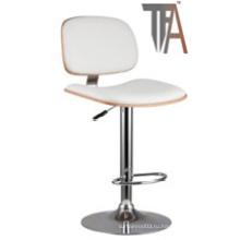 Материал PU и деревянное сиденье с хромированным серебряным стулом