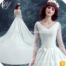 2017 дешевые роскошные новый стиль с длинным рукавом элегантный бальное платье свадебное платье с длинный поезд атласная невесты платье