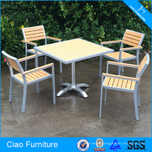 Hot sale teakwood and Aluminum frame dining table set