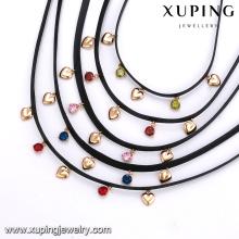 43630 xuping moda jóias da menina por atacado 18 k ouro pedras coloridas em forma de coração gargantilha de couro colar