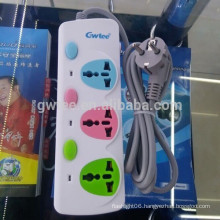 alibaba hot sale 3 way outlet universal power strip socket with overload protection
