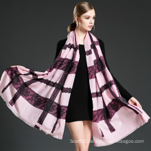 Women Pink Lace Stitching Wool Scarf Shawl