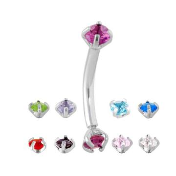 Prong Set CZ Curved Eyebrow Barbell Ring
