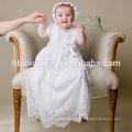 Необычные девочка в белых малышей платье Крещение платья младенческой одежда с шляпа для 0-2 лет