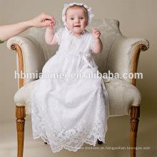 Fantasia Bebé Branco Crianças Vestido Vestidos Bebê Infantil Baptismo Roupas com Chapéu para 0-2 Anos de Idade