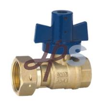 Válvula de bola de latón forjado con mango de aluminio bloqueable para medidor de agua