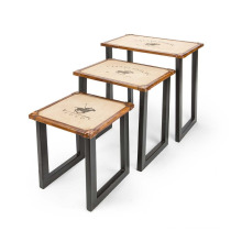 Leather Stool Set of 3