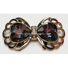 Bowknot Alloy Shoe Buckles with Heart-Shaped Crystal Glass in Coffee