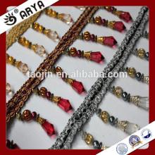 Plaque d'or à la main bordure en gomme perlée et gland pour décoration de rideaux et autres textiles à la maison