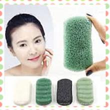 Éponge de Konjac de thé vert de plante végétale naturelle 2015 pour les soins de la peau et le nettoyage du visage