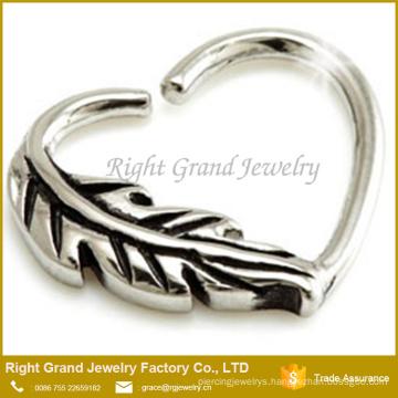 Leaf Feather Daith Heart Ring 16g Tragus Cartilage
