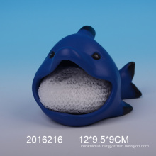 Decorative ceramic sponge holder with shark design